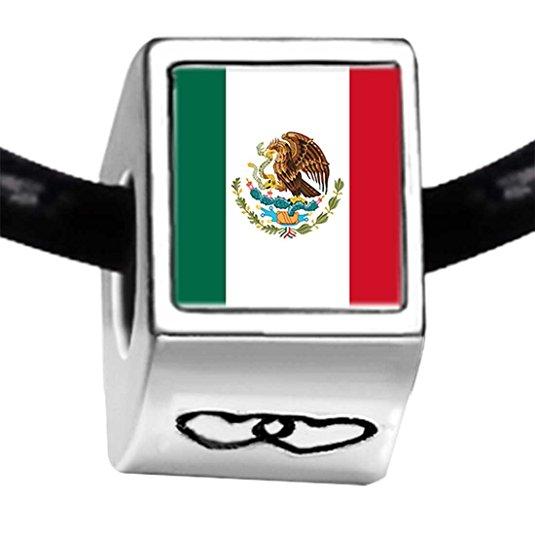 Pandora Mexico Flag Photo Love Charm | GalsJewels.com
