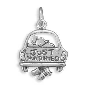 Pandora Wedding Charm With Just Married Text Charm | GalsJewels.com